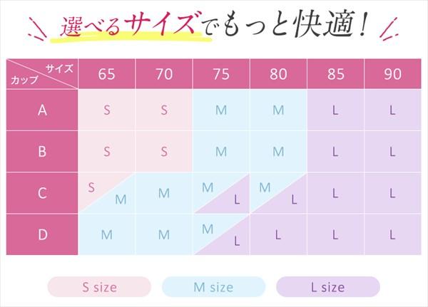 セルノートナイトブラのサイズ表
